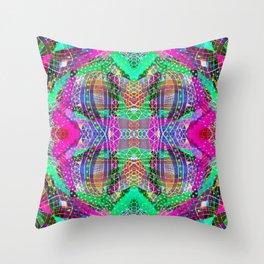 Green Fuchsia Kaleidoscope Throw Pillow