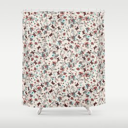 Folky Floral Print Shower Curtain