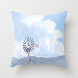 """Blue Windmill Blue Sky"" by Murray Bolesta Throw Pillow"