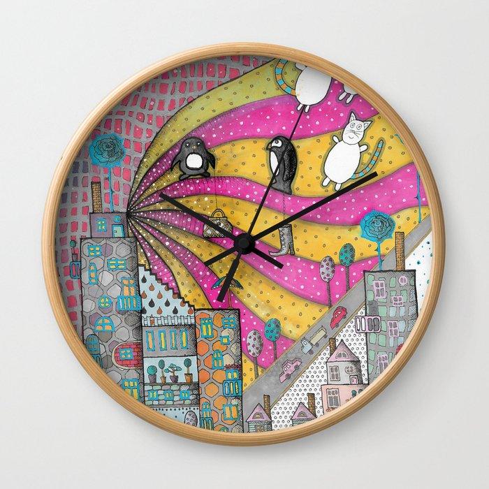 """""""Kittens""""  Illustrated print Wall Clock"""