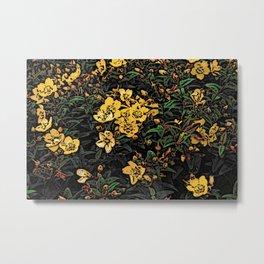 Yellow Flowers Woodcuts Metal Print