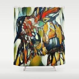 Dramatic Hummingbird in Flight, Colors of Autumn Shower Curtain