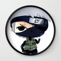 kakashi Wall Clocks featuring Kakashi Chibi by Lyre Aloise