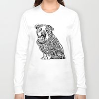 english bulldog Long Sleeve T-shirts featuring Polynesian English Bulldog by Huebucket