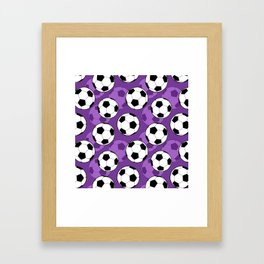 Football Pattern on Purple Background Framed Art Print