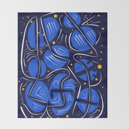 Blue Universe Galaxy with yellow stars Throw Blanket