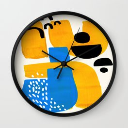 Mid Century Modern abstract Minimalist Fun Colorful Shapes Patterns Ikea Yellow & Blue Wall Clock