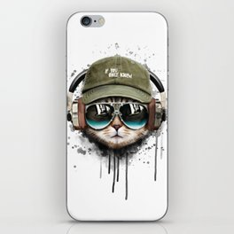 Watercolor cat listening a music illustration. iPhone Skin