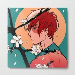 Todoroki and Cherry Blossoms Metal Print