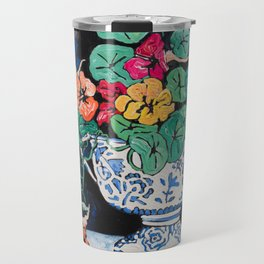 Nasturtium Bouquet in Chinoiserie Bowl on Dark Blue Floral Still Life Painting Travel Mug
