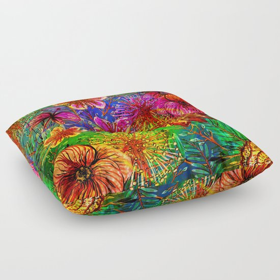 Exotic Floor Pillows : Tropical Heat-Colorful Floral Exotic Tropical Flower Pattern Floor Pillow by UtArt Society6