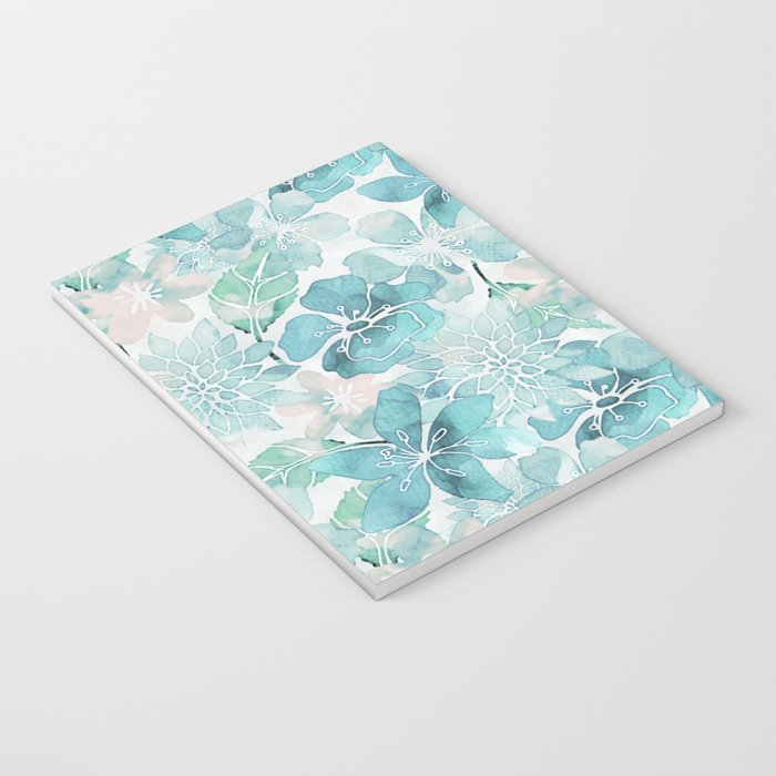 Blue green watercolor flower pattern Notebook