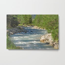 Mountain Creek Fir Trees Forest Landscape Metal Print