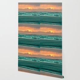Turquoise Ocean Pink Sunset Wallpaper