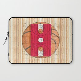 Pink Basketball Court with Basketballs Laptop Sleeve