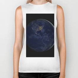 Earth At Night Biker Tank