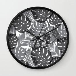 Tropical Shadows - White / Black Wall Clock