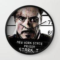 tony stark Wall Clocks featuring Tony Stark jailed by MkY111