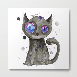 Black cute kitten Metal Print