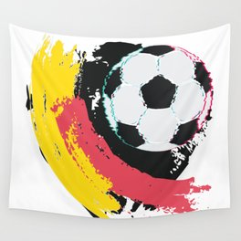 Football ball and red, yellow strokes Wall Tapestry