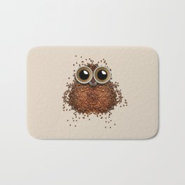 Coffee beans and cups forming owl Bath Mat