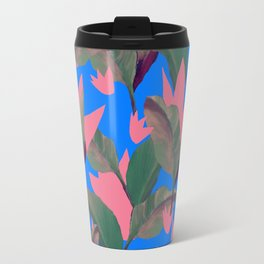Retro Luxe Lilies Electric Blue Pattern Travel Mug