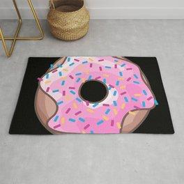 Pink Donut on Black Rug