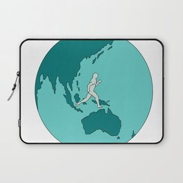 Marathon Runner Around World Drawing Laptop Sleeve