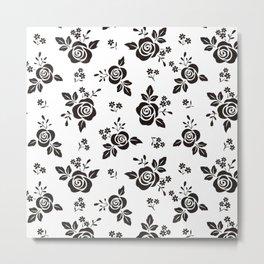 Black And White Rose Flowers Metal Print