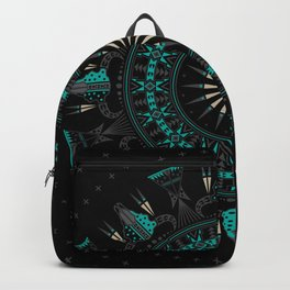 Buffalo Skull and Feathers (Aqua) Backpack