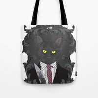 american psycho Tote Bags featuring American Psycho Kitty by Elisabeth Acerbi