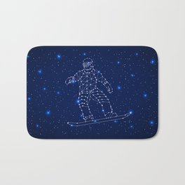 Celestial map with the constellation-Snowboarder and space stars. Extreme sport snowboarding Bath Mat
