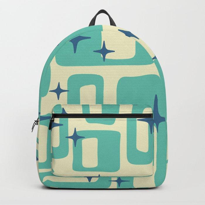 Retro Mid Century Modern Abstract Pattern 577 Turquoise Blue Rucksack