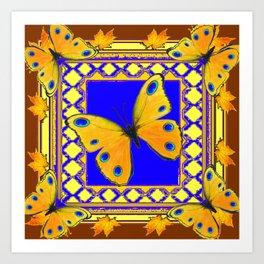 Golden Yellow Yellow Spotted Butterflies Brown-Blue Art Art Print