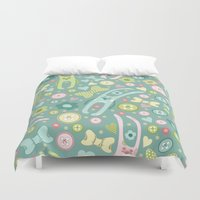 rabbits Duvet Covers featuring Funny rabbits by Julia Badeeva