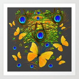 GREEN PEACOCK FEATHERS YELLOW BUTTERFLIES Art Print