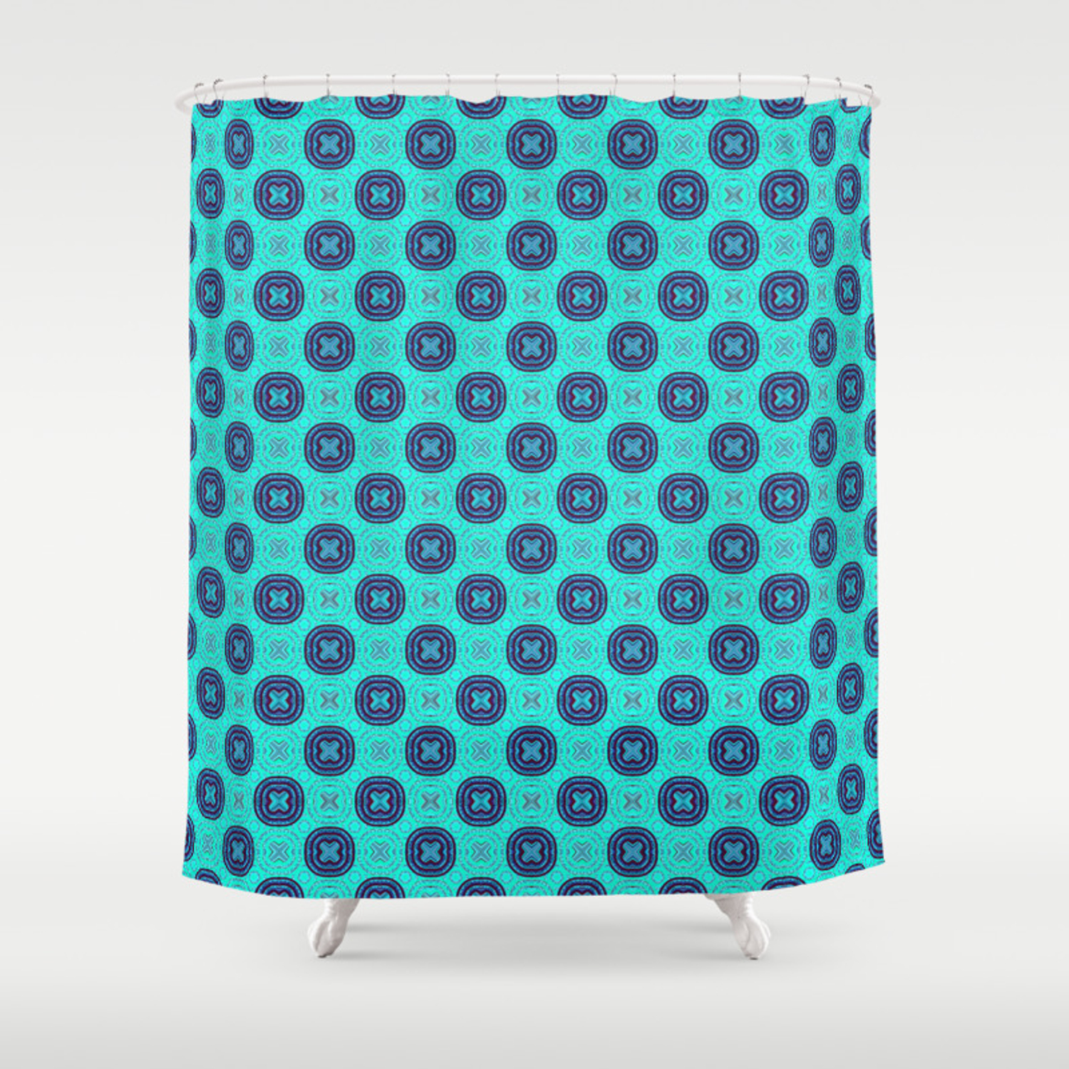 Aqua And Navy Elegant African Fabric Pattern Shower Curtain