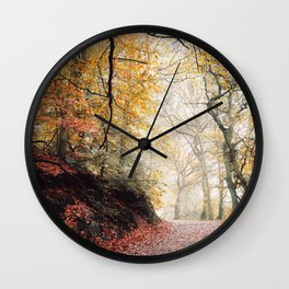 Path through the Autumn Forest Wall Clock