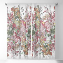 Flowers bouquet (white) Sheer Curtain