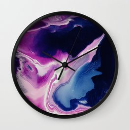 Oysters, acrylic pouring medium Wall Clock
