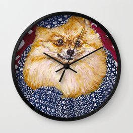 Pomeranian in a Hat and Scarf Wall Clock