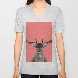 Reindeer Head - coral Background Unisex V-Neck