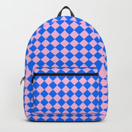 Cotton Candy Pink and Brandeis Blue Diamonds Backpack