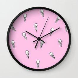 Ice cream Illustration pattern Pink Wall Clock