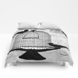 Gothic Bird cage | Goth aeshetics | Birds | Cage | Gothic vintage Comforters