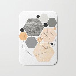 Orange Hexagon, Scandinavian Art Bath Mat