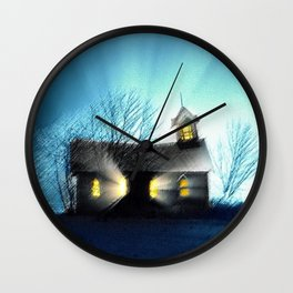 Abandoned Church within the Scituate Reservoir - Scituate, Rhode Island Landscape by Jeanpaul Ferro Wall Clock