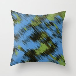 green blue and black painting texture abstract background Throw Pillow