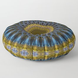 Mandala in golden and blue tones Floor Pillow