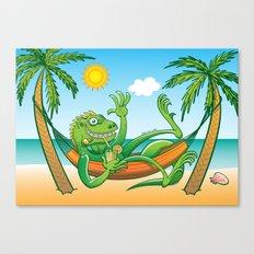 Lazy Iguana Summer on the Beach Canvas Print